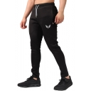 Men's New Fashion Logo Printed Zippered Pocket Side Drawstring Waist Casual Sports Pencil Pants