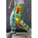 Men's Street Trendy Ombre Color Letter Printed Rainbow Tape Side Casual Drawstring Track Pants