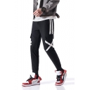 Men's Popular Fashion Stripe Side Flap Pockets Drawstring Waist Black Casual Slim Cargo Pants