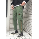 New Fashion Contrast Stripe Side Flap Pocket Army Green Casual Cargo Pants for Guys