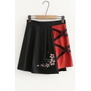 Hot Popular Elastic Waist Crisscross Straps Floral Embroidered Colorblock Patch Mini Pleated A-Line Skirt