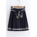 Navy Elastic Waist Bow Tie Striped Trim Emblem Embroidered Mini Pleated A-Line Skirt