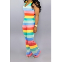 Trendy Scoop Neck Sleeveless Colorblock Striped Leisure Jumpsuits