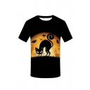 New Arrival Black Short Sleeve Round Neck Bat Cat Moon Printed Funny Tee
