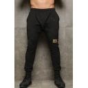 Men's Popular Fashion Letter Printed Black Drawstring Waist Slim Fitness Jogging Pants