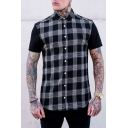 Mens Hot Popular Short Sleeve Single Breasted Check Printed Classic Fitted Shirt