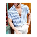 New Arrival Blue Short Sleeve Button Down Striped Print Leisure Cotton Shirt for Men