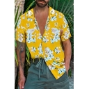Guys Yellow Short Sleeve Lapel Collar Button Down Floral Print Loose Holiday Shirt