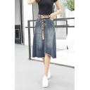 Summer Blue High Waist Asymmetric Hem Belt Embellished Midi A-Line Denim Skirt