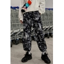 Unisex Street Trendy Unique Printed Loose Fit Drawstring Cuffs Hip Pop Track Pants