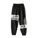 Unisex Street Style Popular Colorblock Letter KAM ASA Stripe Printed Drawstring Waist Trendy Track Pants
