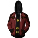 Devil May Cry Stylish Comic Cosplay Long Sleeve Sport Zip Up Red Hoodie