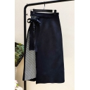 Womens Trendy Black Bow-Tied Side High Waist Midi Knit Pencil Skirt