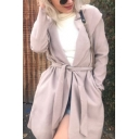 Womens New Stylish Simple Plain Hooded Long Sleeve Tied Waist Longline Trench Coat