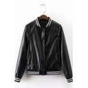 Womens New Trendy Rib Stand Collar Long Sleeve Button Down PU Baseball Jacket