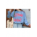 Fashion Letter STRIKE NIGHT Printed Round Neck Long Sleeve Loose Fit Blue T-Shirt