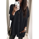 Women's New Fashion Solid Color Round Neck Long Sleeve Loose Fit T-Shirt with Pocket