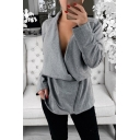 Womens New Fashion Simple Plain Long Sleeve Cowl Neck Side Zip Up Sweatshirt Jacket