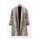 Trendy Khaki Snakeskin Printed Lapel Collar Casual Fitted Blazer Coat for Women