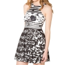 Trendy Black Crane Bird Print Sleeveless Mini Tank Dress