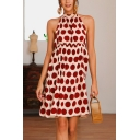 Stylish Polka Dot Printed Halterneck Sleeveless Open Back Swing Dress