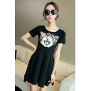 Cartoon Cat Printed Round Neck Short Sleeve Mini Pleated Modal T-Shirt Dress