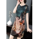 Womens Fancy Peacock Blue Round Neck Short Sleeve Mini Silk Dress