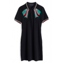 New Stylish Chic Bow-Tie Embroidery Short Sleeve Black Mini Polo Dress