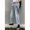 Popular Fashion Wing Printed Light Blue Straight Jeans for Guys