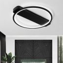 Black Circular Ring LED Flush Light Simplicity Modernism Metal Ceiling Light for Sitting Room