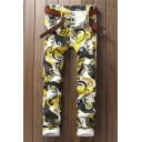 Men's New Fashion Unique Printed Yellow Stretched Slim Fit Jeans