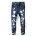 Men's Hot Fashion Colorblock Letter Moon Star Embroidered Stretched Regular Fit Distressed Ripped Jeans