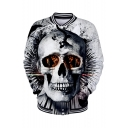 Trendy 3D Skull Pattern Rib Stand Collar Long Sleeve White Unisex Baseball Jacket