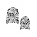 Ahegao Anime Comic Girl 3D Figure Printed Stand Collar Long Sleeve Zip Placket Baseball Jacket