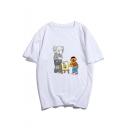 Summer Stylish Comic Pattern Round Neck Short Sleeve Cotton Basic White T-Shirt