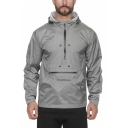 Men's New Stylish Letter DEEPGHSOTS Pattern Long Sleeve Zip Up Hooded Anorak Jacket