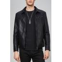 Guys New Trendy Lapel Collar Long Sleeve Plain Zipper Front Black PU Moto Jacket