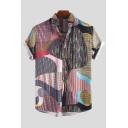 Mens Summer Trendy Geometric Printed Short Sleeve Loose Pink Beach Shirt