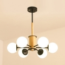 Wood Modo Hanging Light Natural Modern 6 Light Chandelier Light in Black for Bedroom