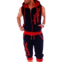 Men's Summer New Fashion Contrast Trim Letter Printed Sleeveless Zip Up Hoodie Cropped Sweatpants Casual Sports Two-Piece Set