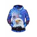 New Fashion Owl 3D Printed Blue Long Sleeve Pullover Drawstring Hoodie