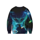 3D Christmas Cat Printed Basic Round Neck Long Sleeve Pullover Sweatshirt