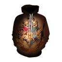 Hot Popular Harry Potter Badge Pattern Drawstring Hooded Long Sleeve Brown Loose Hoodie
