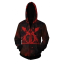 Harry Potter Triangle Logo Printed Long Sleeve Red Zip Up Drawstring Cosplay Hoodie with Pocket