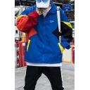 Mens Trendy Colorblocked Zip Closure Letter Printed Lapel Collar Long Sleeve Sports Anorak Jackets