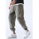 Men's New Fashion Chinese Letter Embroidered Loose Fit Elastic Cuffs Thick Warm Track Pants