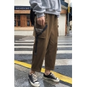 New Arrival Stylish Letter Printed Buckle Strap Embellished Mens Casual Cargo Pants