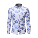 Summer Trendy Floral Printed Long Sleeve Button Up Fitted Nightclub Shirt for Men