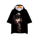Cool 3D Blood Figure Printed Black Short Sleeve Hooded Loose Leisure T-Shirt