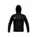 Hot Fashion Solid Color 3D Printed Drawstring Hooded Long Sleeve Casual Black Cosplay Zip Up Hoodie